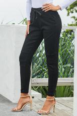 سروال جينز مطاطا بحزام أسود
