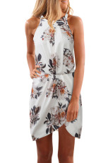 White Halter Neck Floral Print Sleeveless Casual Mini Dress