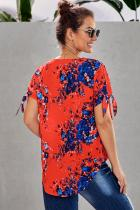 Orange Floral Twist Top