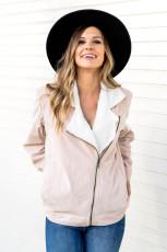 Khaki fold over krage glidelås vanlig jakke
