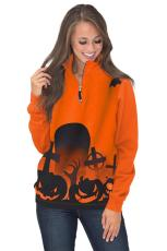 Halloween Screaming Zipped Neck Sweatshirt