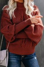 Rød housewarming kabelstrik ballonærmet sweater