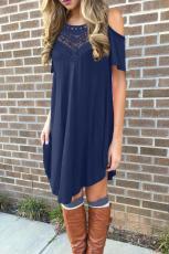 Dantelă albastră rochie casual cu umăr scobit