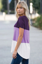 Purple Color Block V Neck T-shirt