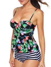 متعدد الألوان 2pcs الأزهار طباعة ملابس السباحة Tankini