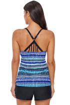 Crisscross and Strappy Detail Printed Tankini Top