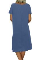 Taivaansininen Kesä Tribal Print V-kaula-aukko Rento mekko