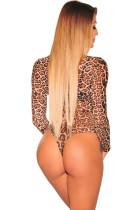 Leopard Skriv ut Svært Mesh Long Sleeves Bodysuit