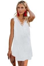 Rochie albă cu mâneci fără gât cu guler în v