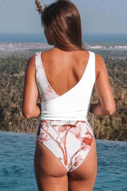 White Self Tie Straps Floral Deep V Wrap One Piece Swimsuit