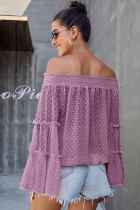 Mauve Swiss Dot off-shoulder top