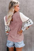 Rosa kontrast trykte ermer strikkede gensere