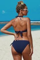 الأزرق معقود بيكيني ملابس السباحة ruched