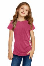 Rose Side Button Detalj Kortærmet T-skjorte for Little Girls