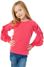 Rosy Ruffle Raglan Pullover Girls Top