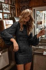 Sort puffy ærme Sequin Party Mini kjole
