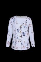 Hvit bluse med blomstring av trykk med V-hals