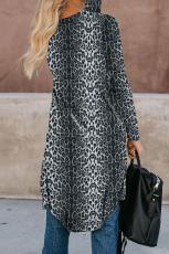 Black Leopard Print Long Cardigan