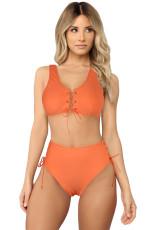 Bikini cu talie înaltă din dantelă portocalie