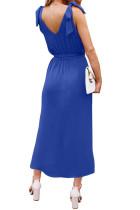 الأزرق BOWKNOT الكتف الأشرطة جيرسي اللباس مع حزام