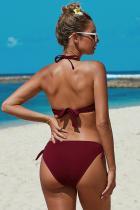 أحمر معقود بيكيني ملابس السباحة ruched