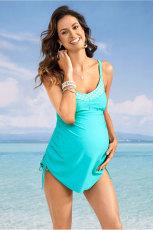 الفيروز تانك الأعلى ملابس السباحة الأمومة مع اللباس الداخلي