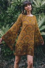 Yellow Starlight Bell Sleeve Shift Print Dress