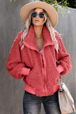 Red Cool for Winter Jacket Teddy Pocketed