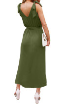Rochie din tricou verde cu umăr Bowknot cu curea