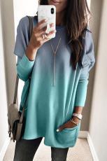 Ombre blå farveblok Lommer i lommer med lang lomme