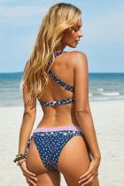 Sininen painettu solmittu riimu kaularistikko Cross Bikini-uimapuku