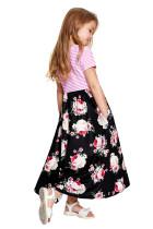 Чёрное полосатое платье с цветочным принтом Little Girls Maxi