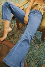 Sky Blue High Jeans Flaide dûr