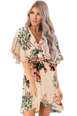 Apricot Floral Print V Neck Wrap Dress med Ruffle Sleeves
