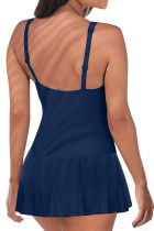 Azul acolchoado Push Up One Piece Swimdress