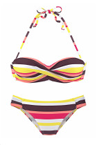 Bikini Set Push Up Giallo Boho Stripes
