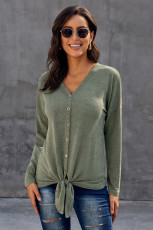 Green Dearly Loved Button Up Top