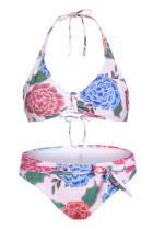 Bílé květinové tisk Halterneck 2 kus Bikini Set