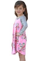 Pink Spring Fling Floral Striped Sleeve Short Dress til Kids