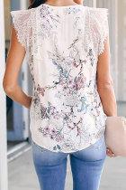 Valkoinen Freesia-kukkakuvioinen kontrastipitsitankki