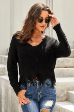 Black Tainted Love Cotton Distressed Sweater