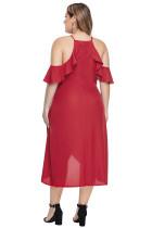 Punainen olkapään pudotus hiha Plus-kokoinen mekko
