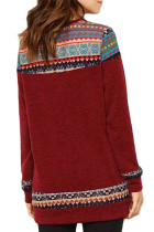 Burgundy Geometric Detail Casual Sweater