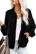 Black Too Soft Pocketed Bomber Jacket