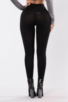 Svart Kne Slit Super High Waisted Leggings