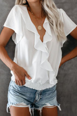 Witte powerpuff draperen ruches blouse