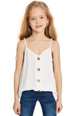 Λευκό κορίτσι χωρίς μανίκια Button Down Cami Tank