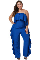 Cobalt Blue Prime Dreams Plus Size Quai Ruffle Jumpsuit