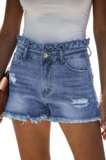 Himmelblå High Rise Ruffle Talje Denim shorts