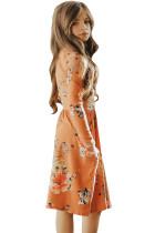 Kukka-oranssi Swing mekko piilotettu taskut